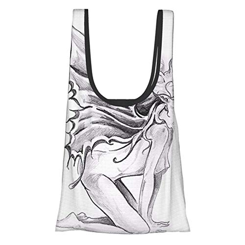 Xinkaize Tattoo Decor Artistic Pencil Drawing Art Print Nude Fairy Opening Its Angel Wings Black and White Bolsas de Compras ecológicas Plegables Reutilizables