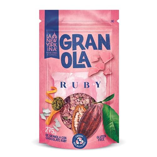 Granola con Chocolate Ruby sin Gluten 275 Gramos - Horneada con Aceite de Oliva Virgen Extra - Productos Naturales - Cereales sin Gluten - Proceso 100% Artesano - La Newyorkina