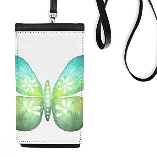 DIYthinker Groene Blad Vlinder met Bloemenpatroon Faux Lederen Smartphone Hangende Handtas Zwart Telefoon Portemonnee Gift