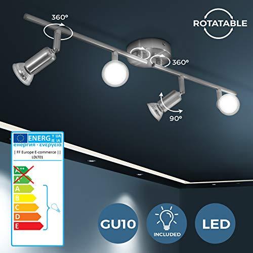 LED Lámpara de Techo - con 4 Focos, A++, GU10, Blanco Cá