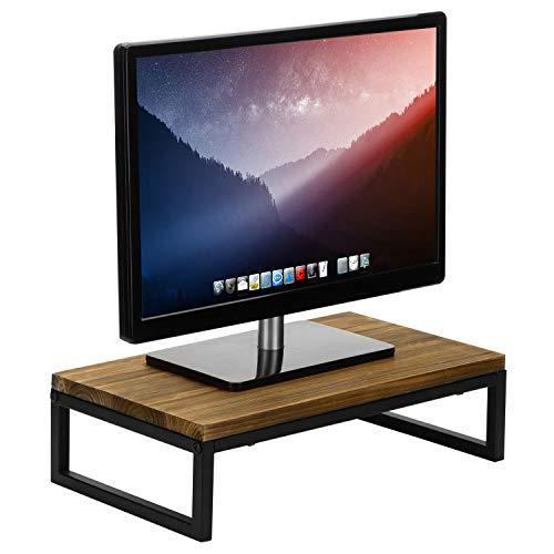 MyGift Rustic Brown Wood & Black Metal Home Office Desk Computer Monitor Display Stand Riser for Desktop, Laptop, Notebook, or Printer