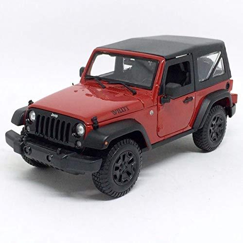 Maisto Jeep Wrangler 2014, Modellauto mit Federung, Maßstab 1:18, Türen und Motorhaube beweglich, Fertigmodell, lenkbar, 24 cm, rot (531676)