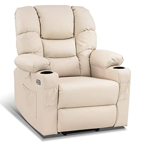 MCombo elektrische Aufstehhilfe Relaxsessel mit 3 Motoren getrennt verstellbar 7550, Liegeposition bis 170° verlängerte Fußstütze (Cremeweiß)
