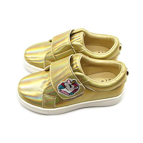 Nicole Miller New York Gold Glitter Designer Strap Sneaker (Toddler) Size 8 M US 3.5 Years