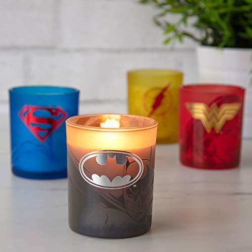 Product Image 5: Insight Editions DC Comics Justice League Glass Votive Candles – Set of 4 – Superman, Wonder Woman, Flash, Batman – Unscented – 3 oz Each