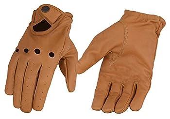 Men s Saddle Tan Men s Leather Driving Glove w/Wrist Snap  Medium