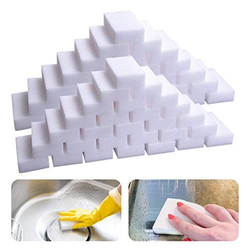 50Pack Large Magic Sponge Eraser, Chemical-Free, Melamine Foam Bulk Sponge Sheets, Bathroom Oven Shower Glass Dishes Stove Kitchen Sink Bathtub Wall Tile Baseboard Sneakers Shoe Cleaner,Not Easily Rip
