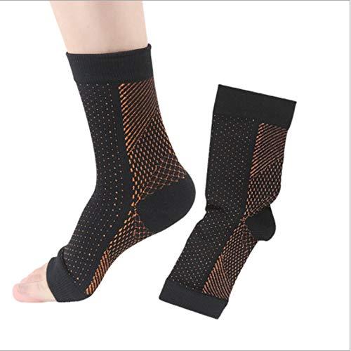 3 Paar Kompressionsstrümpfe für Männer & Frauen, kupfergetränkte magnetische Fußstützsocken -Compression Fußhülsenstütze Brace Socke gegen Plantarfasziitis Achilles Knöchel. (S-M, Kupfer)