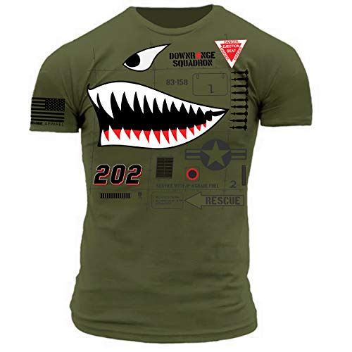 Danger Close Air Support Shark Nose Art Military Green Premium Athletic Fit T-Shirt (X-Large)