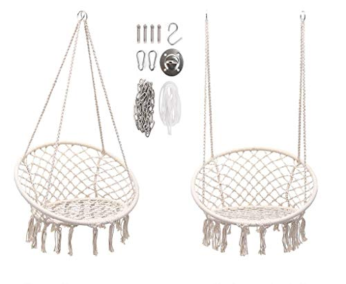 Moonlove Tassel Round Hanging Swing Chair, Handmade Knitted Cotton Rope Indoor Heavy Duty Hanging Hammock Garden Swing Seat for Adults Kids Various Installation for Home, Ceiling, Tree, Door, White