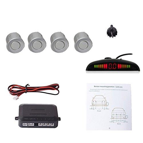 CoCar Auto Rückfahrwarner Einparkhilfe 4 Sensoren Einparkassistent Einparksystem PDC + LED Anzeigen + Akustische Warnung - Silber