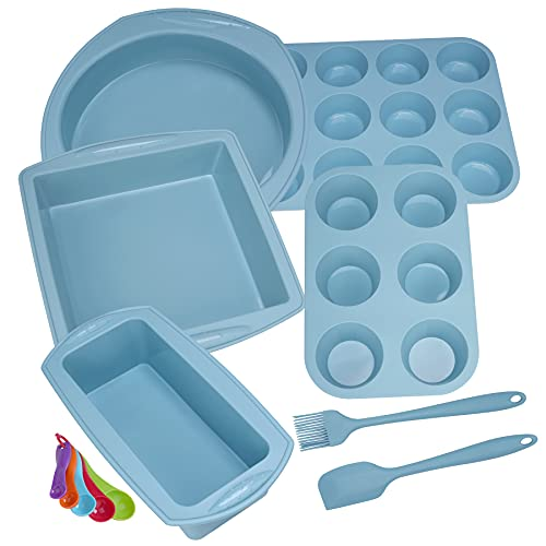 Aschef 12in1 Silikon Backform Set antihafte Kastenform quadratische kuchenform flexibele Quicheform 2pcs BPA-Frei Muffinforms mit Backpinsel Spatel und Messlöffel für Pizza Torte Brownie Cupcake, blau