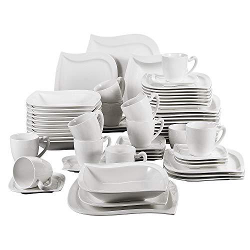 MALACASA, Serie Elvira, 60 TLG. CremeWeiß Porzellan Geschirrset Kombiservice Tafelservice mit Tassen, Untertassen, Dessertteller, Suppenteller und Flachteller für 12 Person