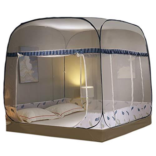 Yvst Pop-up klamboe tent opvouwbaar muggennet bed, transparante mesh-afdekking baldakijn bedgordijn baldakijn bed net jurtennet, geschikt voor thuis, camping outdoor tent, blauw