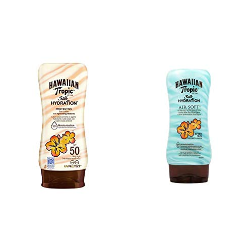 Hawaiian Tropic Silk Hydration Protective Sun Lotion Sonnencreme LSF 50, 180 ml, 1 St + Silk Hydration Air Soft After Sun Lotion, 180 ml