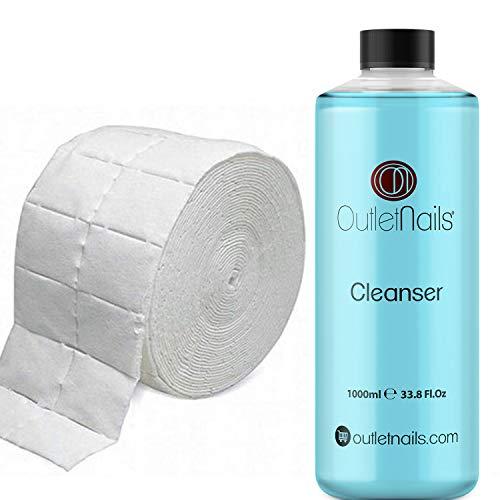 Cleaner para Gel 1000ml Aroma Coco Azul + 500 Celulosas de Alta Calidad Precortadas/Eliminar la capa pegajosa de geles UV + Esmaltes permanentes