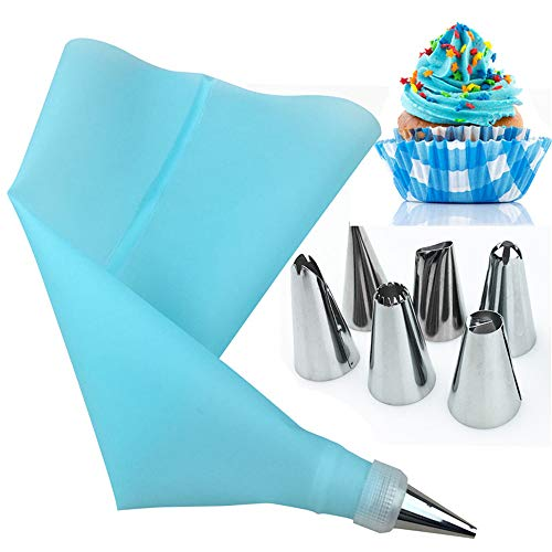 JupVierge Blue Piping Bags and Tips Cake Decorating Supplies Kit, 1 Reusable Silicone Pastry Bag with 6 Stainless Steel Nozzle Icing Tips Set, 1 Couplers for Baking Decorating Cake Tool (8Pcs)