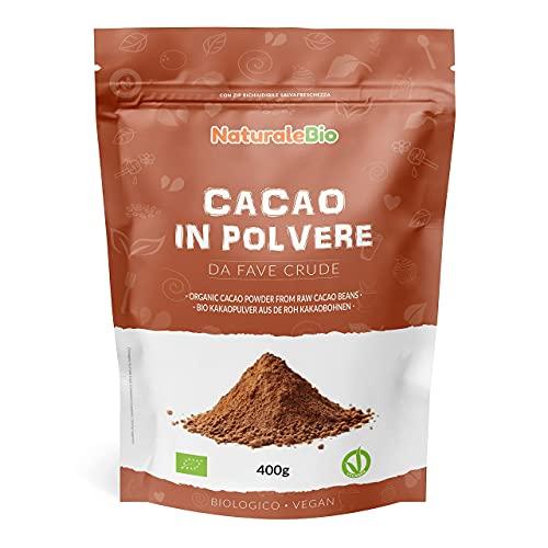 Cacao Ecológico en Polvo 400 g. Organic Cacao Powder. 100% Bio, Natural y Puro producido a partir de Granos de Cacao Crudo. Cultivado en Perú a partir de la planta Theobroma Cacao.