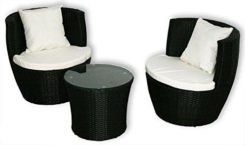 KMH®, 3-teilige Gartensitzgruppe *Felipa* inklusive Sesselauflage und Kissen - Farbkombination: schwarz/Weiss (#106057)