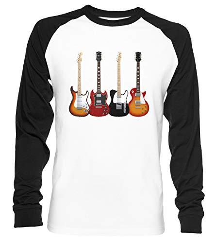 Cuatro Eléctrico Guitarras Unisex Camiseta De Béisbol Manga Larga Hombre Mujer Blanca...