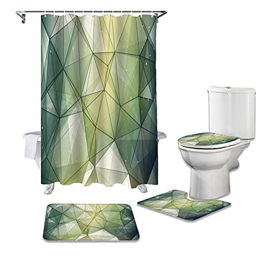 WWGBHJL 4-teiliges Duschvorhang-Set, dunkelgrünes Dreieck unregelmäßiges Muster Duschvorhang, wasserdichter Badezimmervorhang, Toilettensitzkissen, Badewannendekorations-Teppich-Set