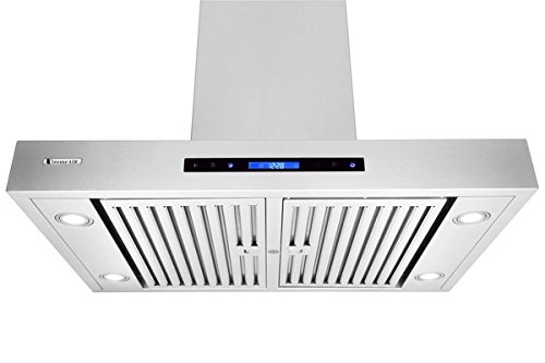 """XtremeAir Wide, Stainless Steel, PX06-I42 Island Mount Range Hood with 900 CFM Easy Clean Swing-able Baffle Filters, 42"""""""