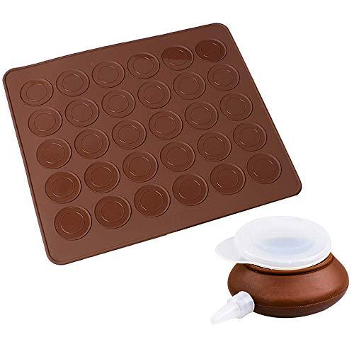 Tapis de Cuisson Macarons, Plaque à Macarons Meringues Moule en Silicone 30 Coques Macarons 1 Poche à Douille 4 Douilles de Formes Differentes