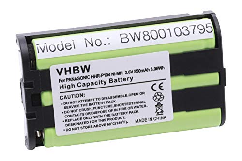 vhbw NI-MH Akku 850mAh (3.6V) passend für schnurlos Festnetz Handy Panasonic KX-TW201, KX-TW211