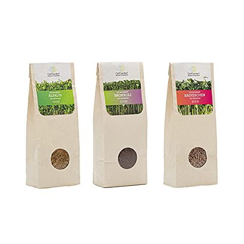 Cell Garden® Bio Microgreens Samen 3er Set [600g] | 200g – Brokkoli, 200g – Radieschen, 200g – Alfalfa Samen für Sprossen und Microgreens mit hoher Keimfähigkeit