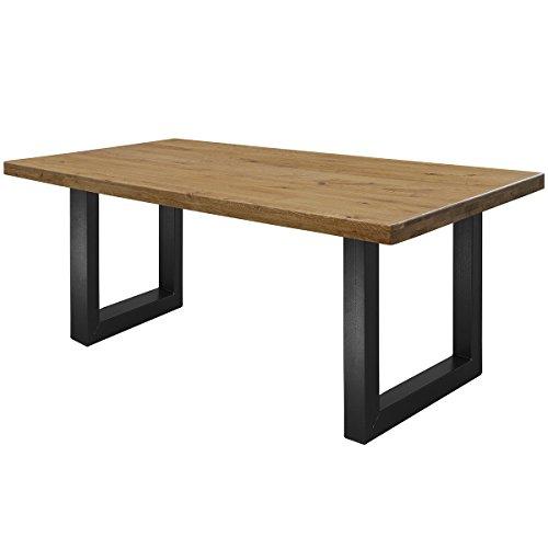 COMIFORT Mesa de Comedor - Mueble para Salon Oficina Despacho Robusto y Moderno de Roble Macizo Color Ahumado, Patas de Acero U-Forma Negras (180x90 cm)
