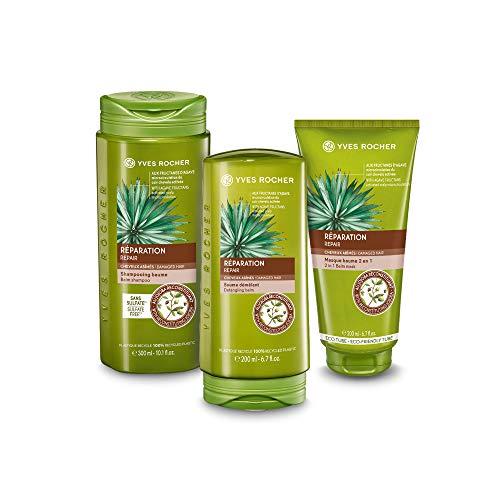 Yves Rocher PFLANZENPFLEGE HAARE Haarpflege-Set Repair, für strapaziertes Haar, Shampoo, Spülung und reparierende Maske