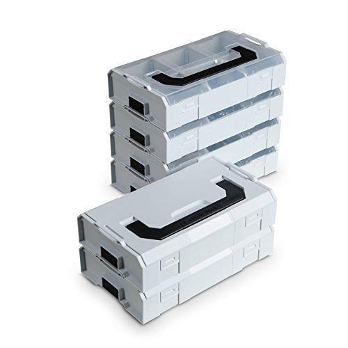 Bosch Sortimo L BOXX Mini | 6er Set in grau | Je 3 Deckel grau & transparent | Aufbewahrungsbox Schrauben mit Deckel | Schrauben Sortierkasten (grau)