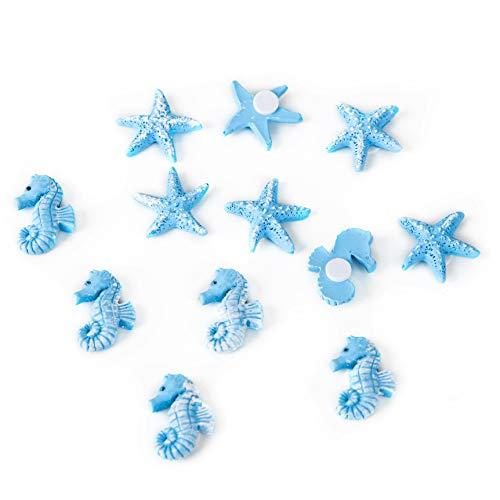 Logbuch-Verlag Juego de 12 piezas decorativas marítimas con estrella de mar, 2,5 cm, caballito de mar, decoración para mesa, verano, vacaciones, piezas con adhesivo