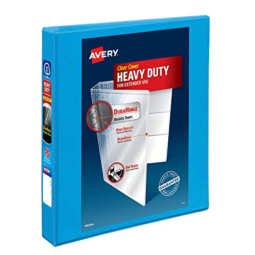 Avery Heavy-Duty View 3 Ring Binder, 1 One Touch Slant Rings, Holds 8.5 x 11 Paper, 1 Light Blue Binder (05301)