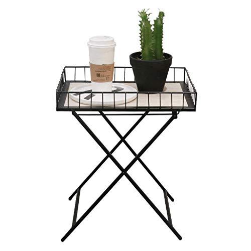 Plateau de la Table d'appoint Pliant Etabli Salon Table Basse en Fer forgé Portable Chambre à Coucher Amovible Canapé Terrasse (Couleur : Noir)