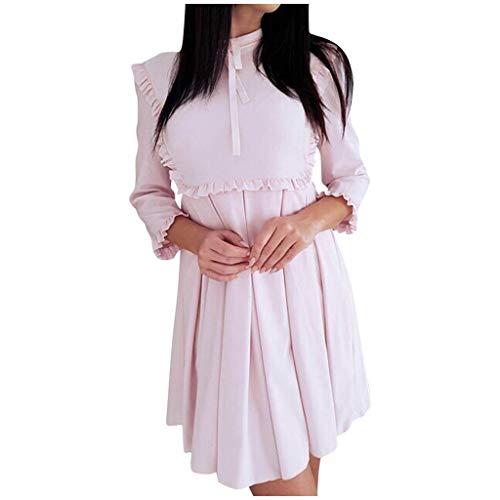 GOKOMO Mode Ladys Schmetterlings-Hülsen-lose große Spitze-Kleid-beiläufiges Spleiß-Kleid(Rosa,Large)