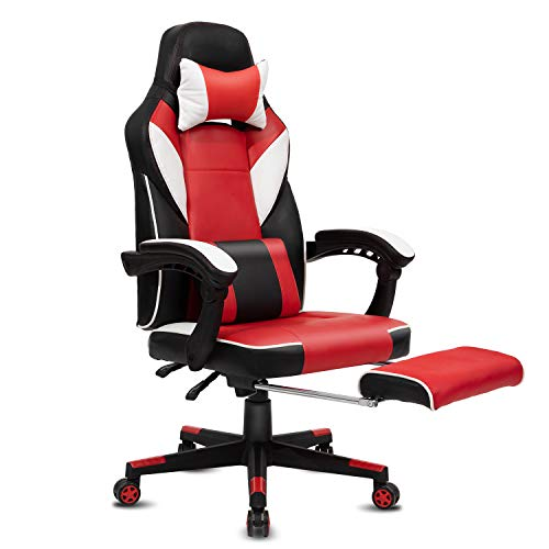 Modern-Depo High-Back Swivel Office Chair Recliner with Footrest, Headrest and Lumbar Support | Height Adjustable Ergonomic Gaming Chair - Black & Red black chair gaming