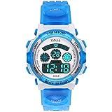 Reloj Digital para Niños,Niños Niñas 50M (5ATM) Impermeable 7 Colores LED Relojes Deportivos Multifuncionales para Exteriores con Alarma (Azul)