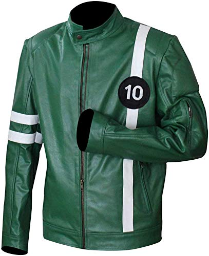 Superhero B-10 Logo Verde Chaqueta de piel sintética