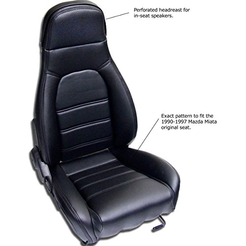 Sierra Auto Tops Mazda Miata Front Seat Cover Kit for 1990-1996 Standard Seats, Simulated Leather, Black (Driver and Passenger Included) (Black)