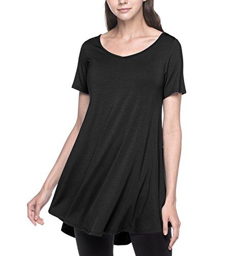 LAPASA Damen Lange Große Größen Longshirt, Kurzarm Basic T Shirts MEHRWEG - L020 (Schwarz, XXL (letzter Abbildung zufolge))