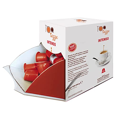 100 TAZZE - 100 Capsule Caffè in Plastica Miscela Intenso, Intensità 6/8, Box da 100 Capsule Compatibili con Macchina / Macchinetta da Caffè Sistema Nespresso, Made in Italy