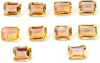 eGemCart Natural Citrino 8X6mm de Forma Octagone Facetas Cortar la Piedra Preciosa Floja para la fabricación de Joyas   Ca...