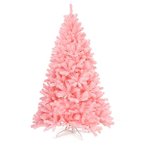 Goplus 6ft Unlit Pink Artificial Christmas Tree, Hinged Spruce Full Tree with Metal Stand, 100% New PVC Material, Xmas Tree for Indoor and Outdoor Decoration