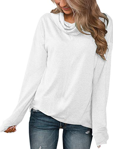 Minthunter Women's Long Sleeve Pullovers Cowl Neck Tunic Shirt Casual Sweatershirt Tops (X-Large, White)