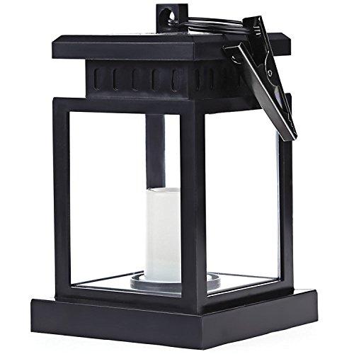 H.Y.BBYH Luce a LED Solar Home Outdoor Candle Sun Ombrello Outdoor Outdoor Lanterna Solare Alimentato con sensore Automatico Flicker Candela Bianca - Decorazioni Natalizie