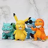 liuyb 4 Unids / Set Pokemon Miserable Parodia Pikachu Charizard Venusaur Gengar Psyduck Figura De Acción Muñecas Juguetes De Cumpleaños para Niños 8-12Cm