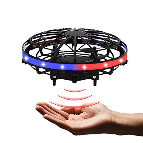 Hand Operated Flying Mini UFO Drone ,Hands Free Helicopter Birthday Gift Hand Controlled Mini Quadcopter for Kids Boys and Girls Party Present Interactive Flying Ball Toy with LED Lights