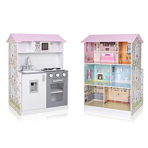 Baby Vivo Kinderküche und Puppenhaus 2in1 Spielküche Kinderspielküche aus Holz Puppenstube mit 6 Zimmern auf 3 Etagen Kinderspielzeug - Mira