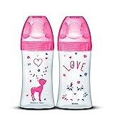 DODIE Lot de 2 Biberons Anti-Colique Sensation+ (2x270 mL) - Tétine Plate, Débit 2, Sans BPA - 0-6 mois – Fushia Love